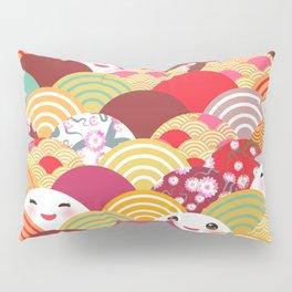 Kawaii Nature background with japanese sakura flower, wave pattern Pillow Sham