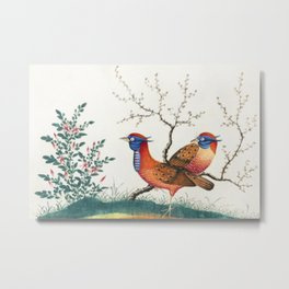 Chinese painting featuring two pheasant-like birds with flowering plants (ca1800-1899) from the Miri Metal Print