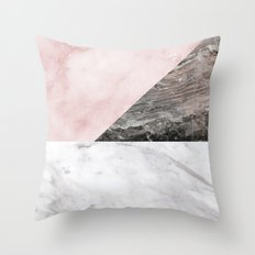 Smokey marble blend - pink and grey stone Throw Pillow