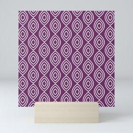 Purple and white elegant Moroccan pattern Mini Art Print