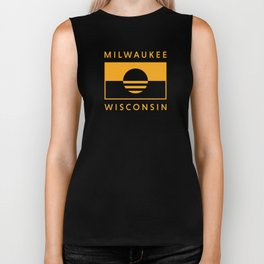 Milwaukee Wisconsin - Gold - People's Flag of Milwaukee Biker Tank