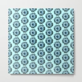 Turquoise Bue Daisy Pattern,Retro Metal Print