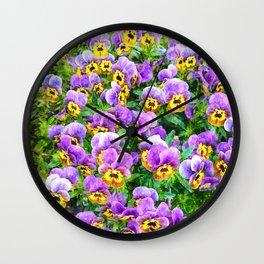 Purple and yellow pansy field Wall Clock