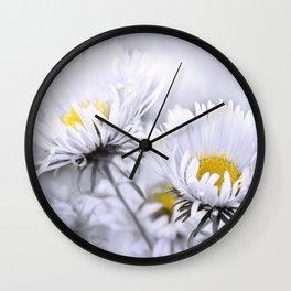 Flowers white macro 072 Wall Clock