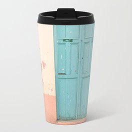 Blue Door and Pink Millennial wall, Pastel Retro Travel Mug