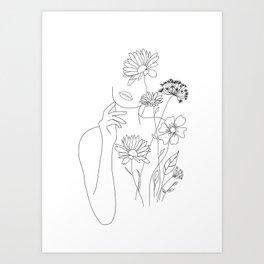 Minimal Line Art Woman with Flowers III Art Print