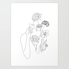 Minimal Line Art Woman with Flowers III Art Print