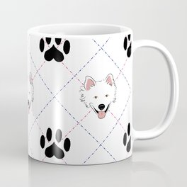 American Eskimo Paw Print Pattern Coffee Mug