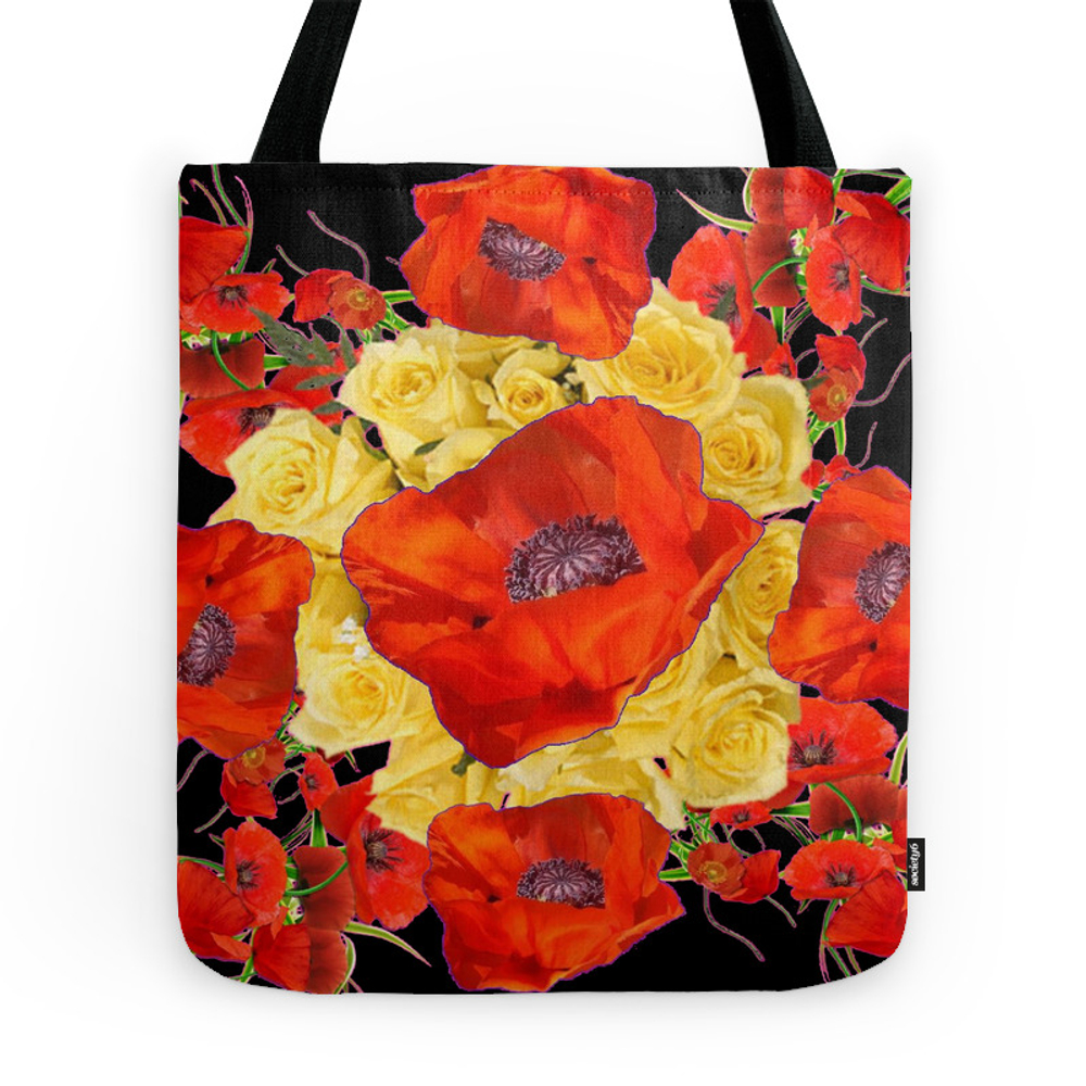 Orange Poppies Floral & Yellow Roses Black Art Tote Purse by sharlesart (TBG7540033) photo