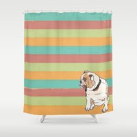 english bulldog Shower Curtains featuring Bulldog by Tammy Kushnir