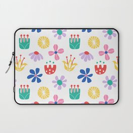Nordic Floral in Mod Rainbow + White Laptop Sleeve