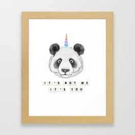Cute Funny Panda Bear Unicorn Pandacorn Framed Art Print