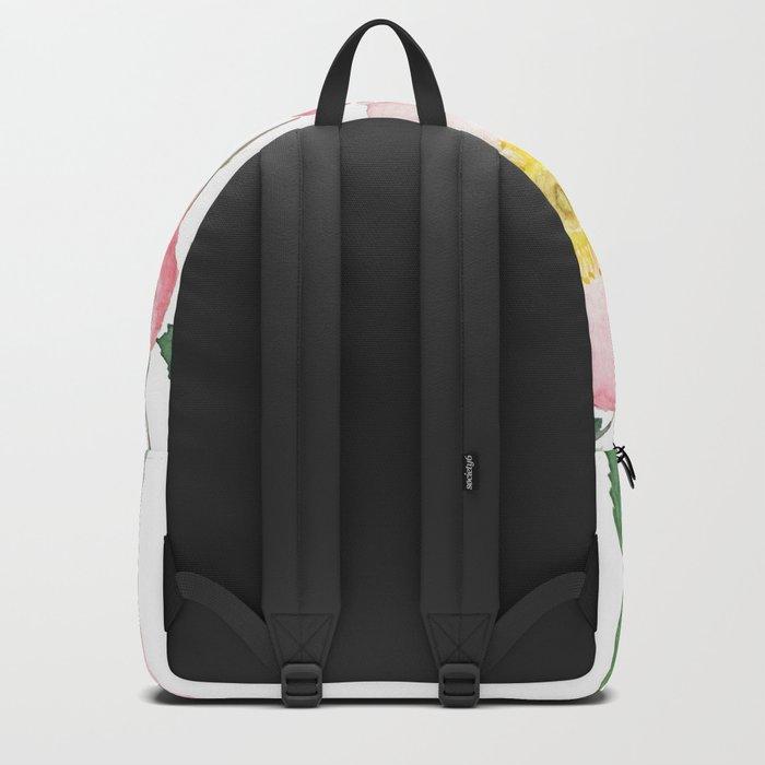 pink rosa rubiginosa watercolor Backpack
