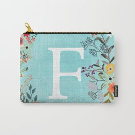 Personalized Monogram Initial Letter F Blue Watercolor Flower Wreath Artwork Carry-All Pouch