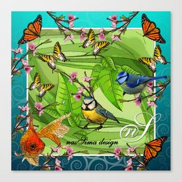 Birdy & Fishy spring blue Canvas Print
