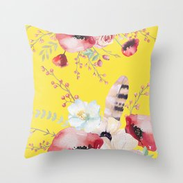 Yellow Boho Floral Throw Pillow