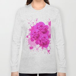 CERISE PINK ROSE PATTERN WATERCOLOR SPLATTER Long Sleeve T-shirt