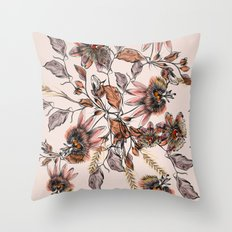 Tropical drawings of pasiflora flowers Throw Pillow