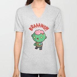 Zombie Kawaii | BRAAAINS!!!! BRAINS!! Halloween Unisex V-Neck