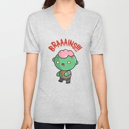 Zombie Kawaii | BRAAAINS!!!! BRAINS!! Halloween Unisex V-Neck