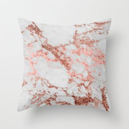 Stylish white marble rose gold glitter texture image Throw Pillow