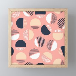 ABSTRACT 80s MOON PATTERN ON PINK Framed Mini Art Print