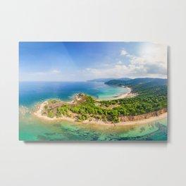 The beaches Mandraki, Elias and Agistros of Skiathos island from drone view, Greece Metal Print