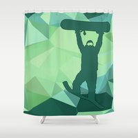 snowboard Shower Curtains featuring Snowboard by B Remembered Designs