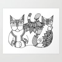 Zen Cat with Flowers Art Print