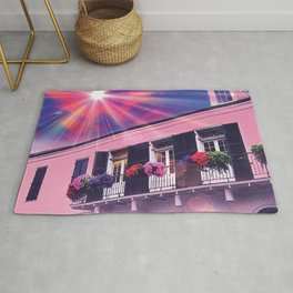Sunshine on Pink New Orleans French Quarter Nola Home Floral Botanical Garden Cotton Candy Blue Sky Rug