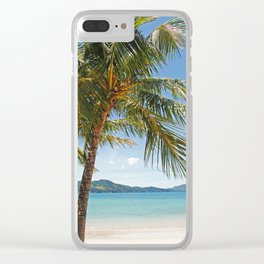 Palm Trees on the Beach Clear iPhone Case