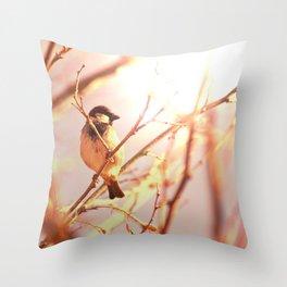 Morning sparrow Throw Pillow