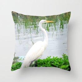 The Great White Egret:) (pointillism) | Large White Bird | Nature Photography Throw Pillow