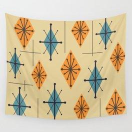 Mid Century Modern Starburst Diamonds Orange And Blue Wall Tapestry