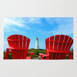 Lighthouse and chairs in Red White and Blue Rug