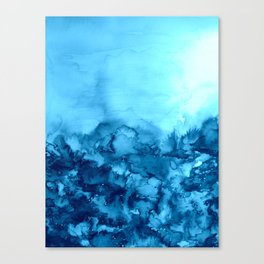INTO ETERNITY, TURQUOISE Colorful Aqua Blue Watercolor Painting Abstract Art Floral Landscape Nature Canvas Print