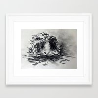 guinea pig Framed Art Prints featuring Charcoal Guinea Pig by Miss emZ