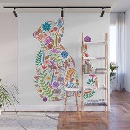 Fancy And Fine Flowered Cat Garden Design Wall Mural
