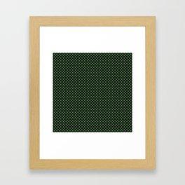 Black and Hippie Green Polka Dots Framed Art Print