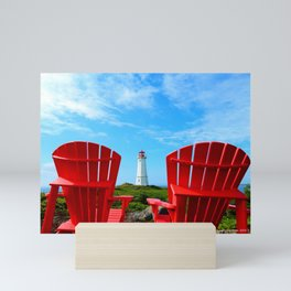 Lighthouse and chairs in Red White and Blue Mini Art Print