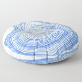 Ryu - spilled ink indigo watercolor painting abstract art marble swirl ocean wave marbled pattern  Floor Pillow