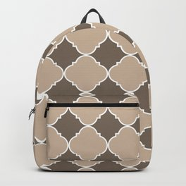 Pantone Hazelnut Ornamental Moroccan Tile Pattern with White Border Backpack