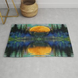SURREAL RISING GOLDEN MOON BLUE REFLECTIONS Rug