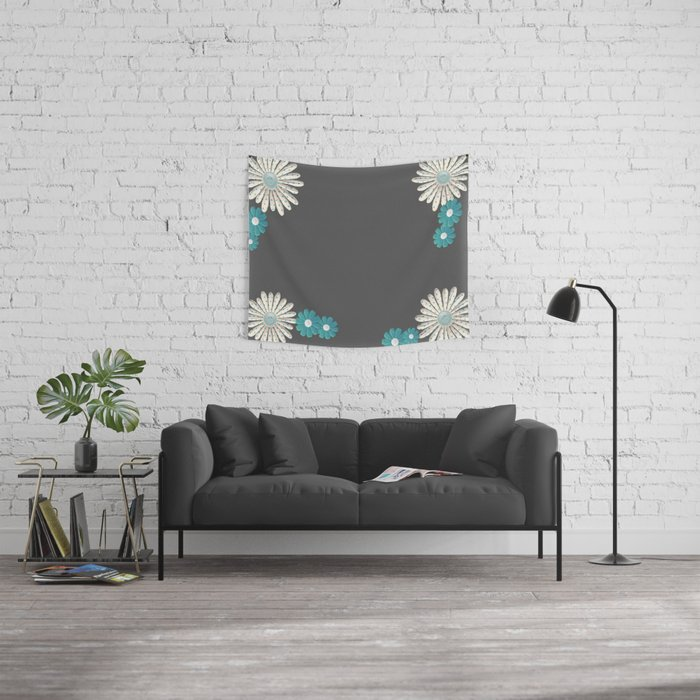 Gray,blue flowers Wall Tapestry