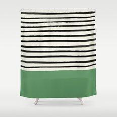 Moss Green x Stripes Shower Curtain