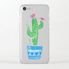 Linocut Cacti #2 in a pot Clear iPhone Case