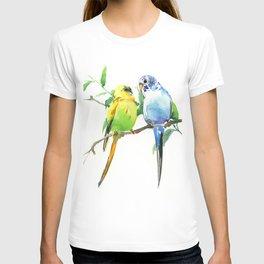 Budgies, Animal art, love, two birds bird artwork, bird pet T-shirt
