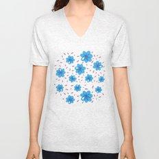 Gentle Blue Flowers Pattern Unisex V-Neck