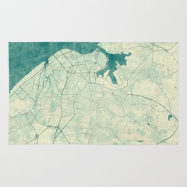 Havana Map Blue Vintage Rug