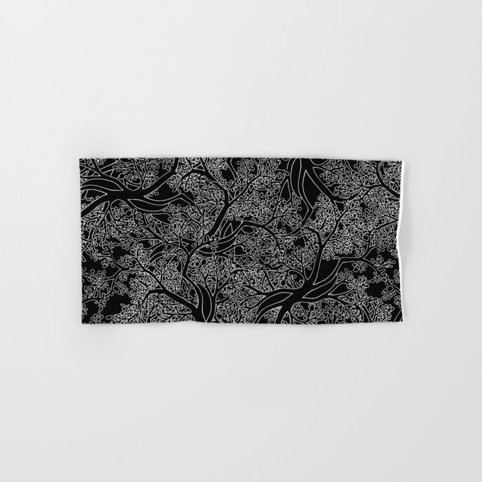 Tree Repeat Black Hand & Bath Towel